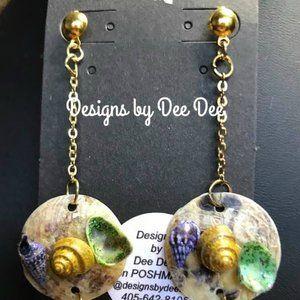 Gold Tone Shell on Shell Drop Earrings